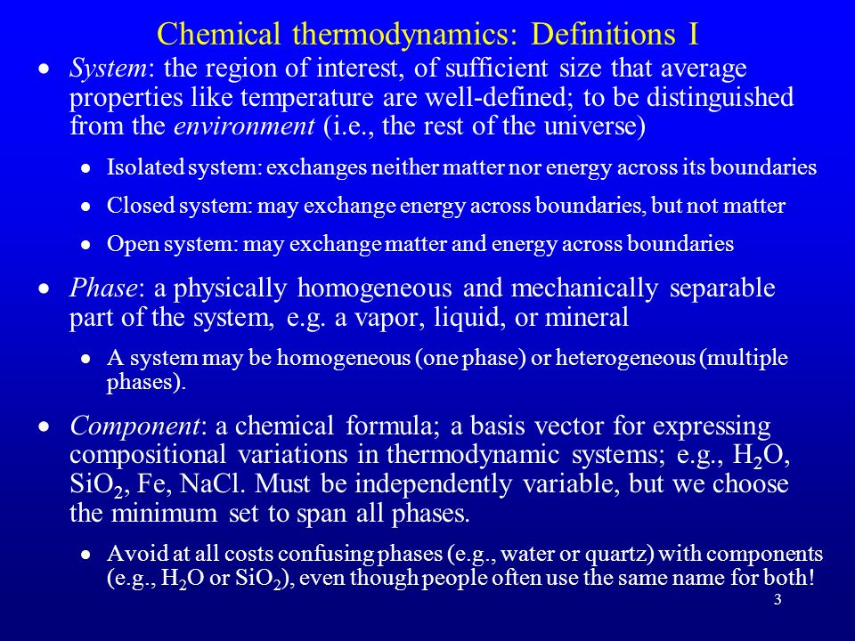 Chemical thermodynamics: Definitions I