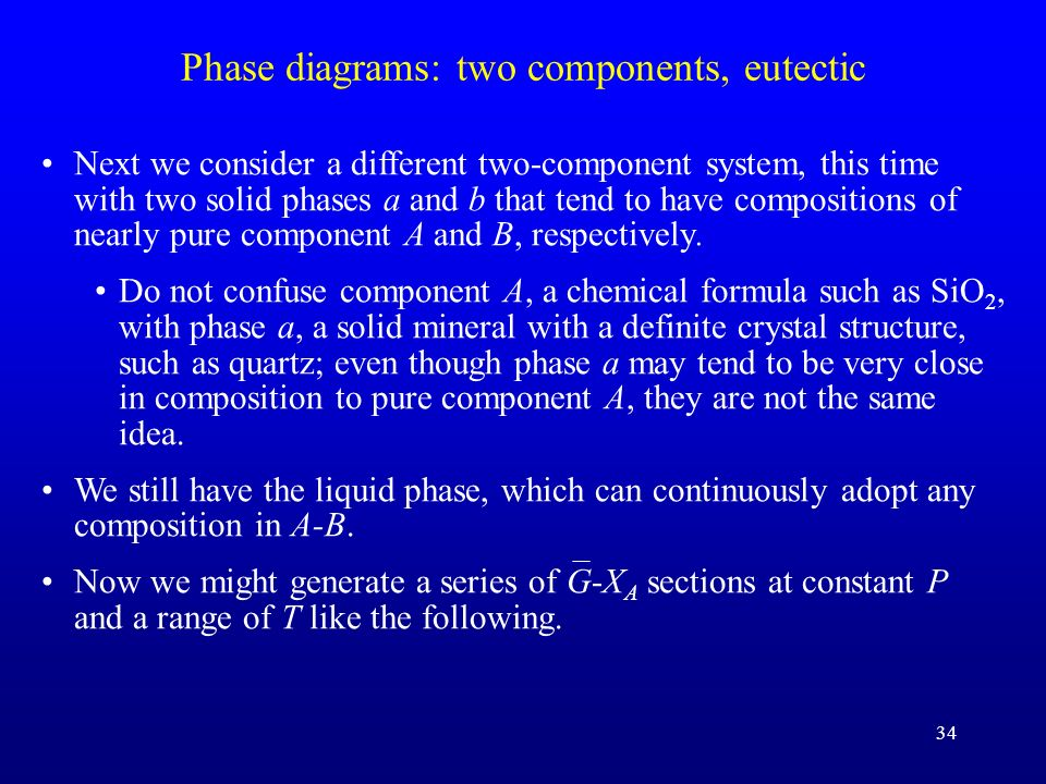 Phase diagrams: two components, eutectic