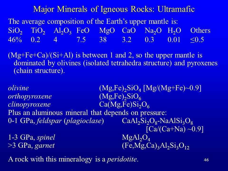 Major Minerals of Igneous Rocks: Ultramafic