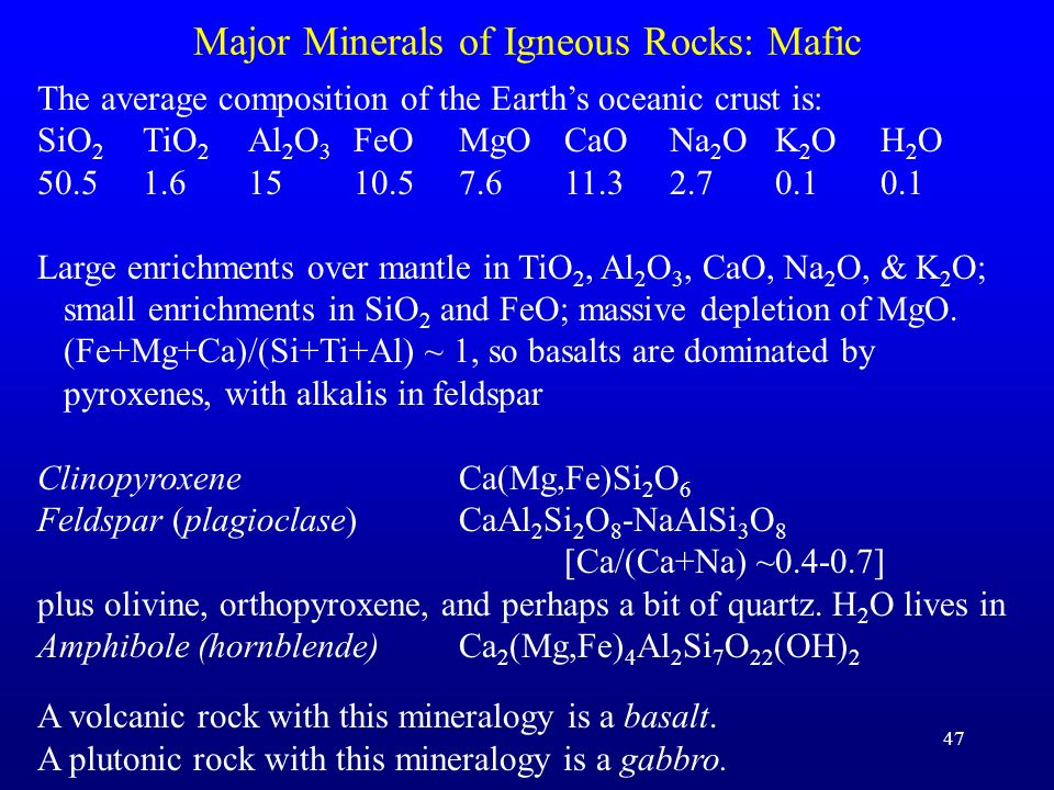 Major Minerals of Igneous Rocks: Mafic