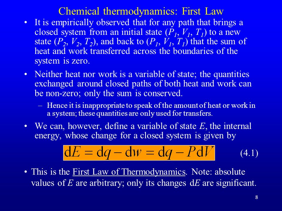 Chemical thermodynamics: First Law