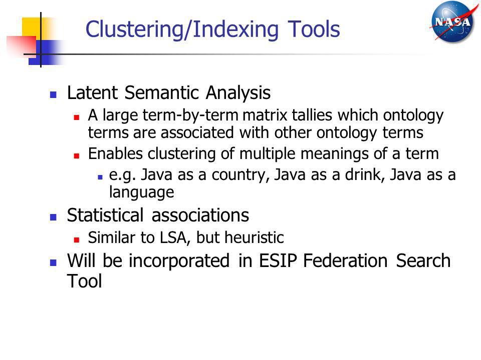 Clustering/Indexing Tools