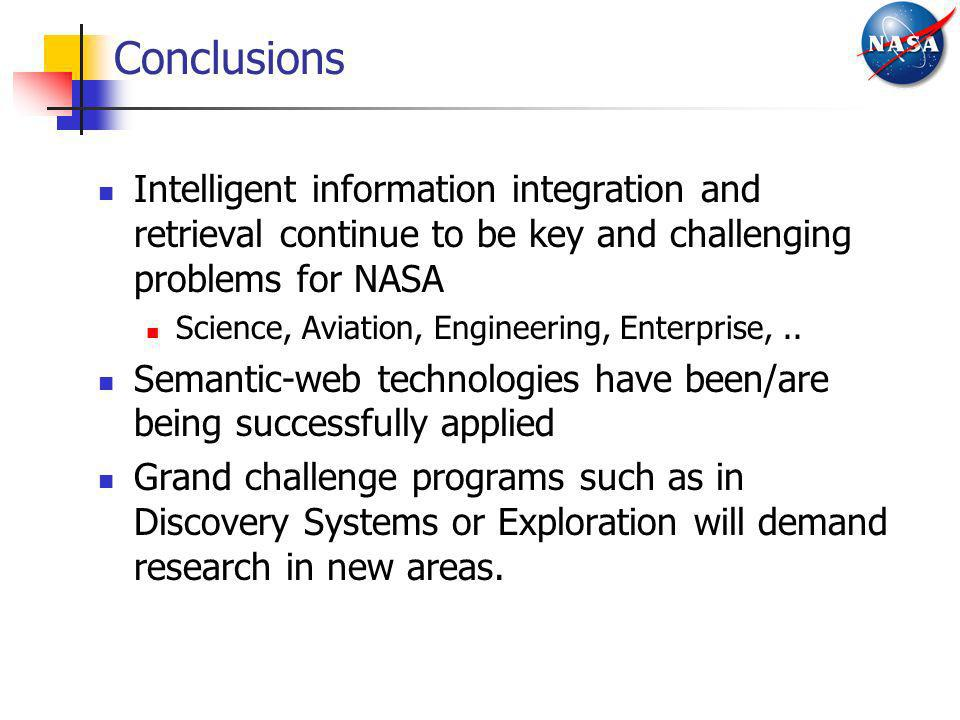 Conclusions Intelligent information integration and retrieval continue to be key and challenging problems for NASA.
