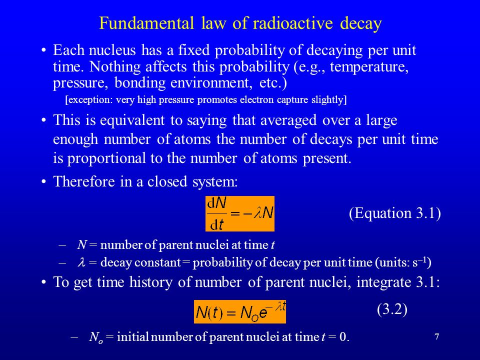 Fundamental law of radioactive decay