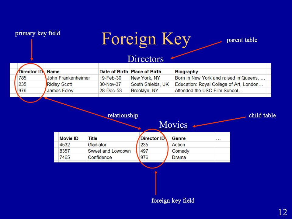 Foreign Key Directors Movies primary key field parent table