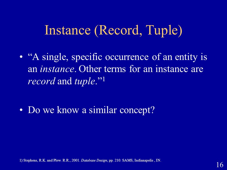 Instance (Record, Tuple)