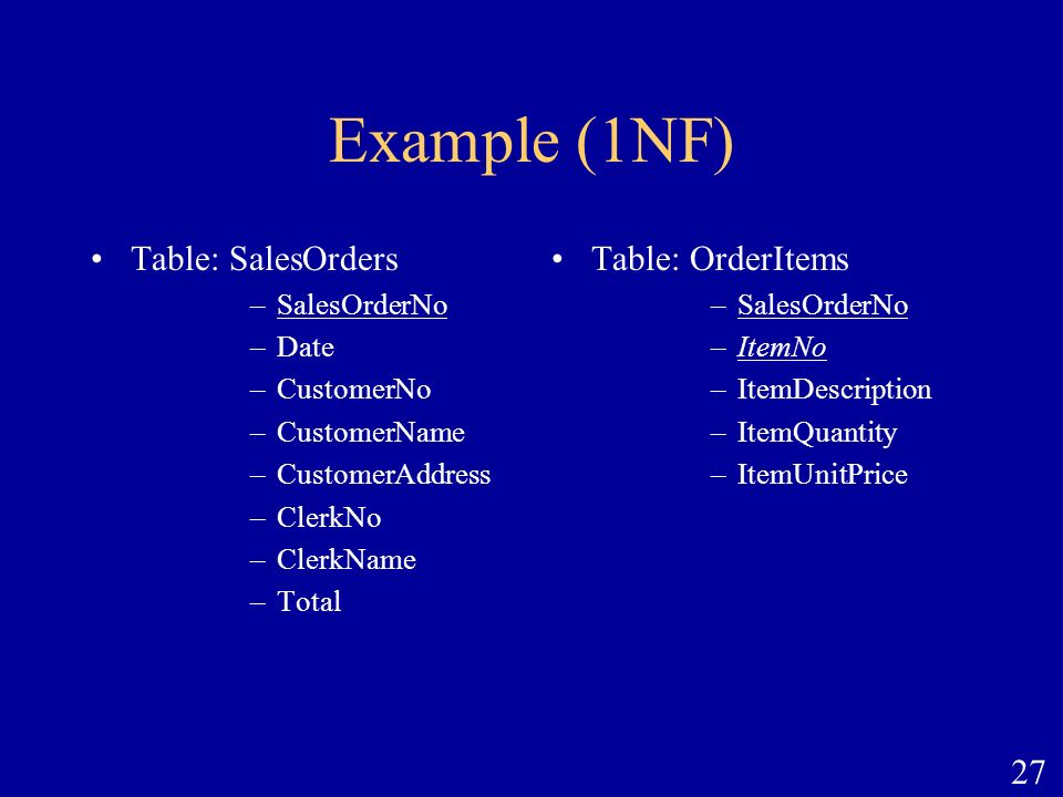 Example (1NF) Table: SalesOrders Table: OrderItems SalesOrderNo Date