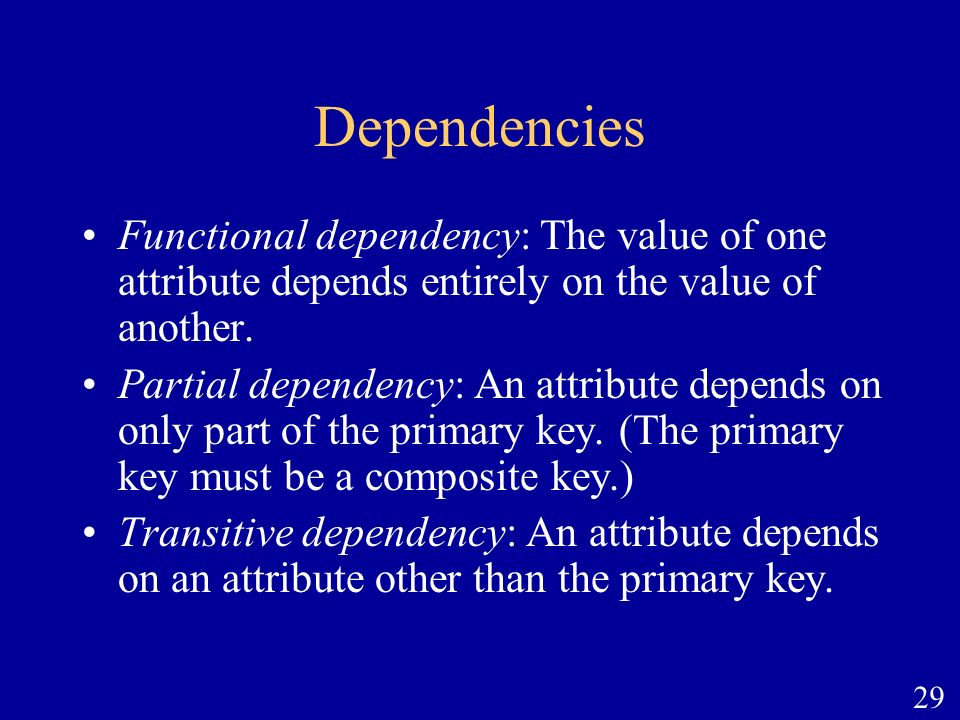 Dependencies Functional dependency: The value of one attribute depends entirely on the value of another.