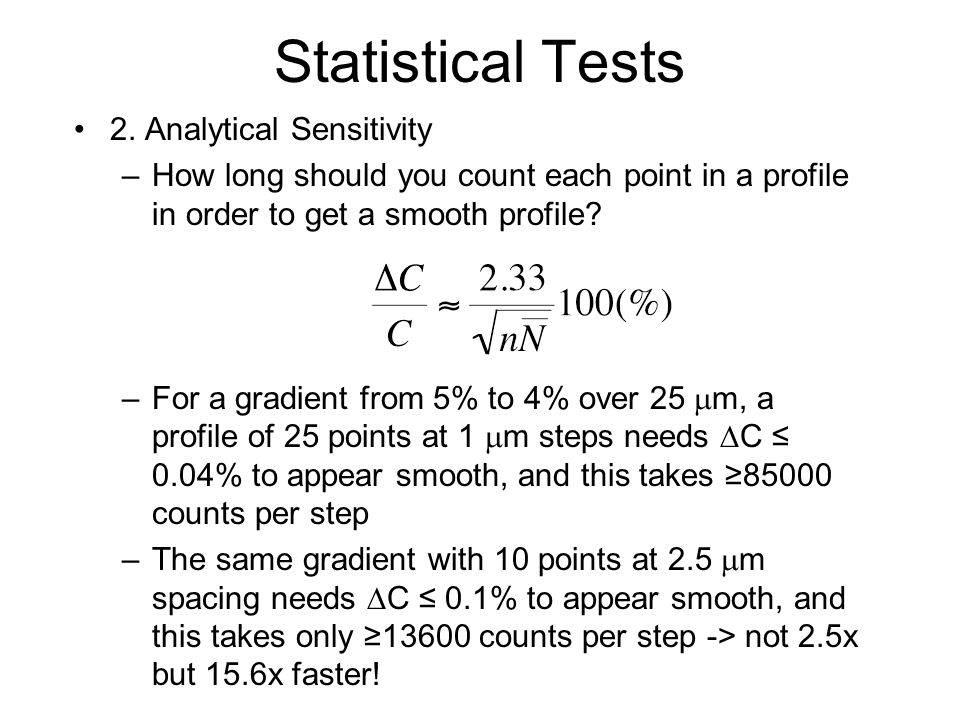 Statistical Tests 2. Analytical Sensitivity