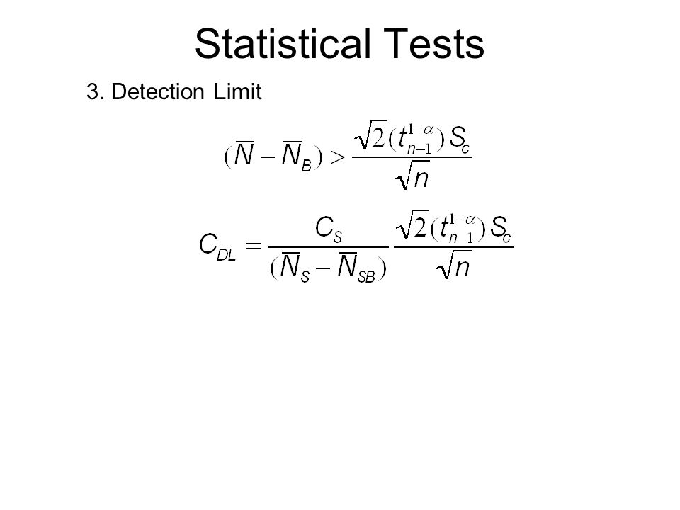 Statistical Tests 3. Detection Limit