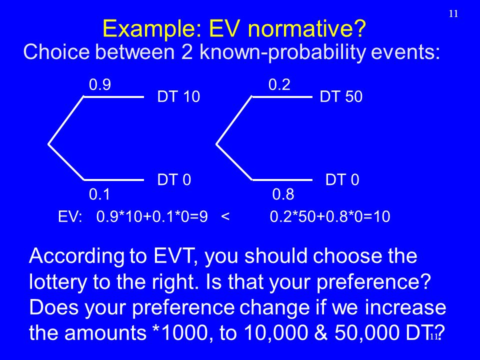 Example: EV normative Choice between 2 known-probability events: