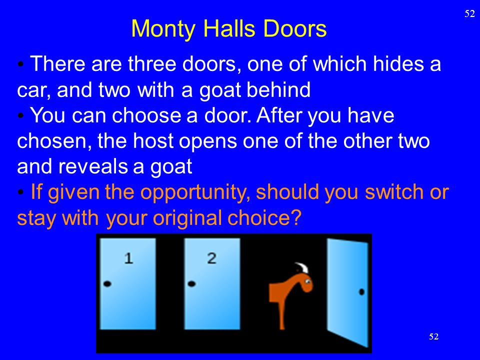 52 Monty Halls Doors. There are three doors, one of which hides a car, and two with a goat behind.