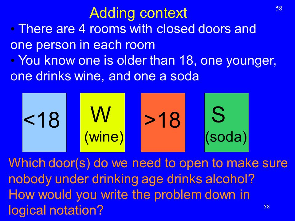 W S <18 >18 Adding context (wine) (soda)
