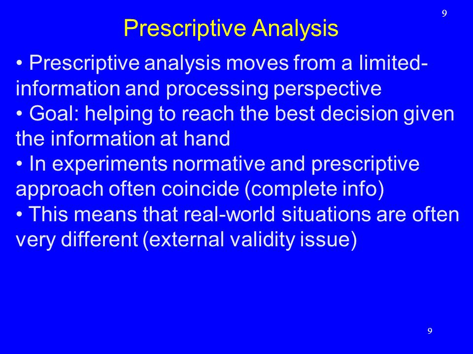 Prescriptive Analysis
