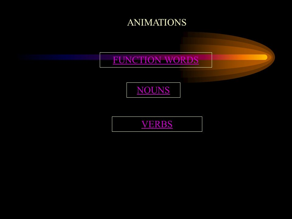 ANIMATIONS FUNCTION WORDS NOUNS VERBS