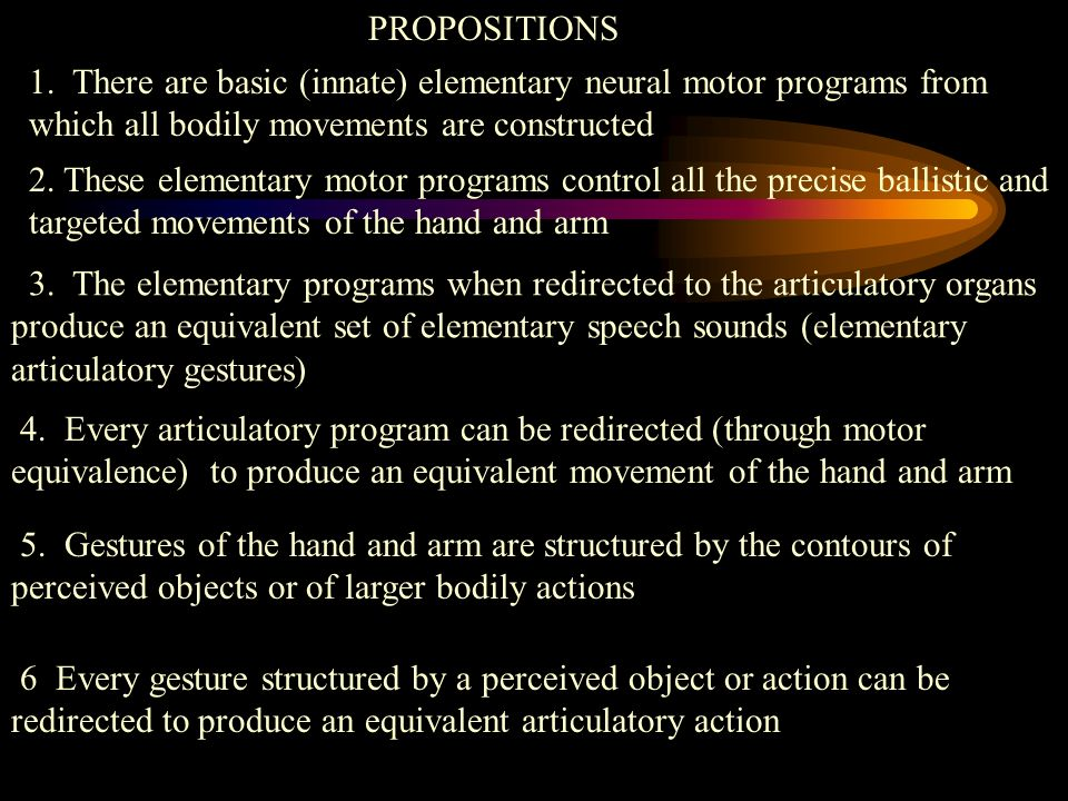 PROPOSITIONS 1. There are basic (innate) elementary neural motor programs from which all bodily movements are constructed.