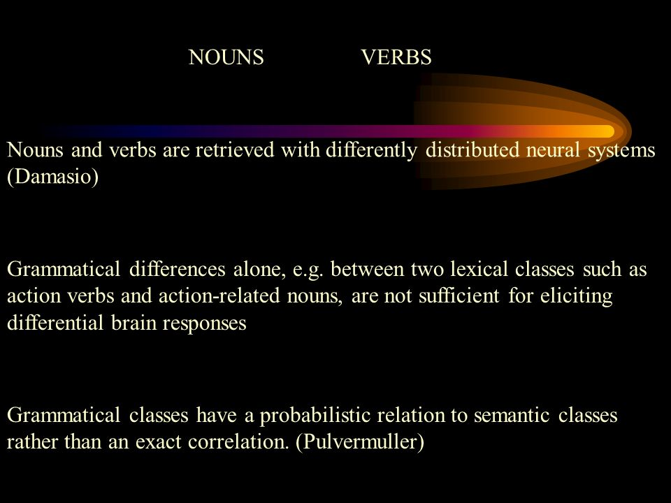 NOUNS VERBS Nouns and verbs are retrieved with differently distributed neural systems (Damasio)