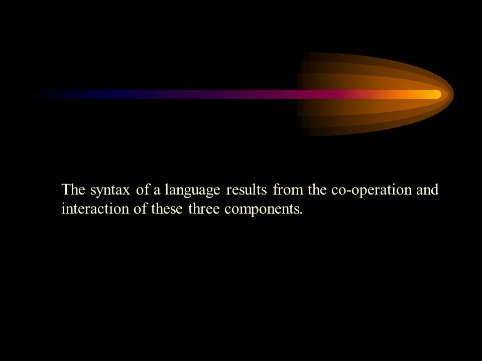 The syntax of a language results from the co-operation and interaction of these three components.