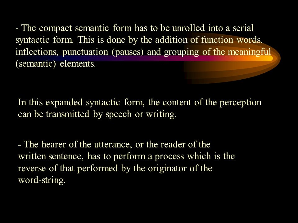 - The compact semantic form has to be unrolled into a serial syntactic form. This is done by the addition of function words, inflections, punctuation (pauses) and grouping of the meaningful (semantic) elements.