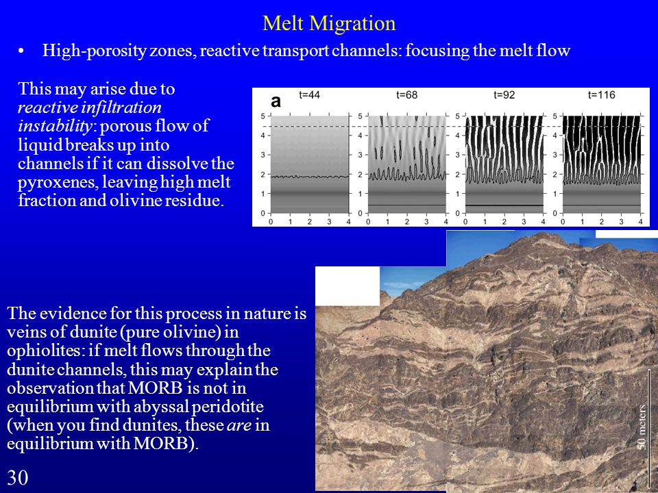 Melt Migration High-porosity zones, reactive transport channels: focusing the melt flow.