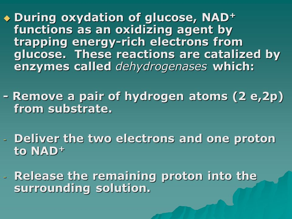 During oxydation of glucose, NAD+ functions as an oxidizing agent by trapping energy-rich electrons from glucose. These reactions are catalized by enzymes called dehydrogenases which: