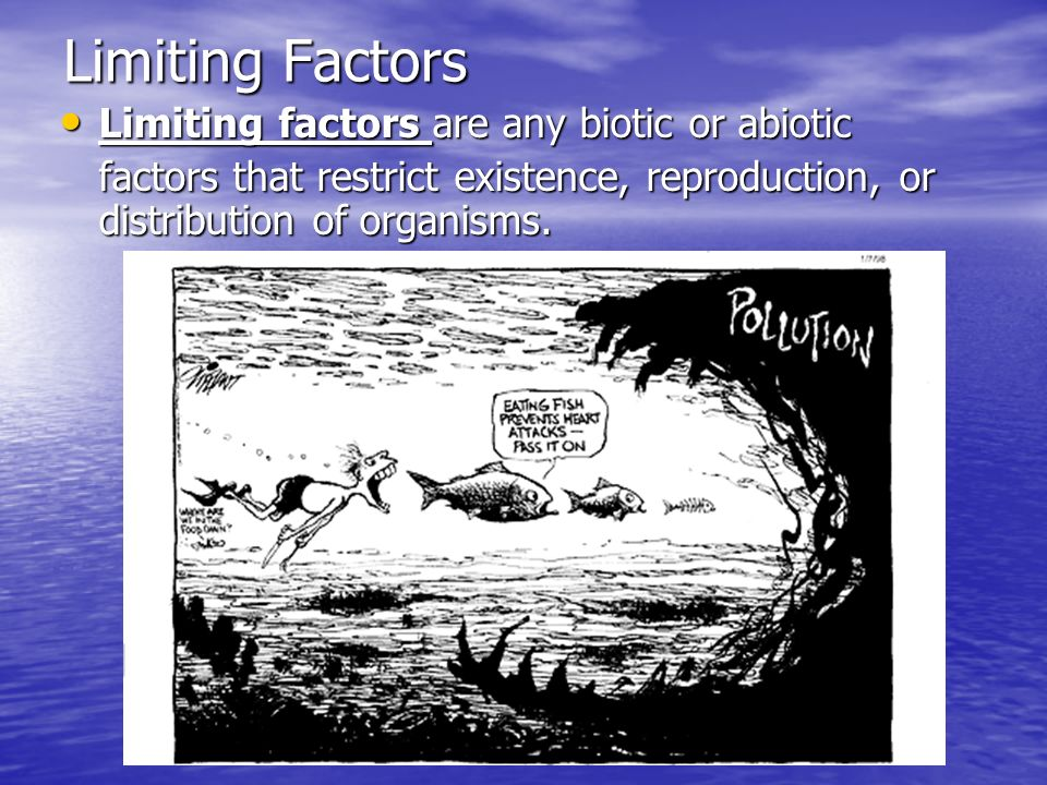 Limiting Factors Limiting factors are any biotic or abiotic