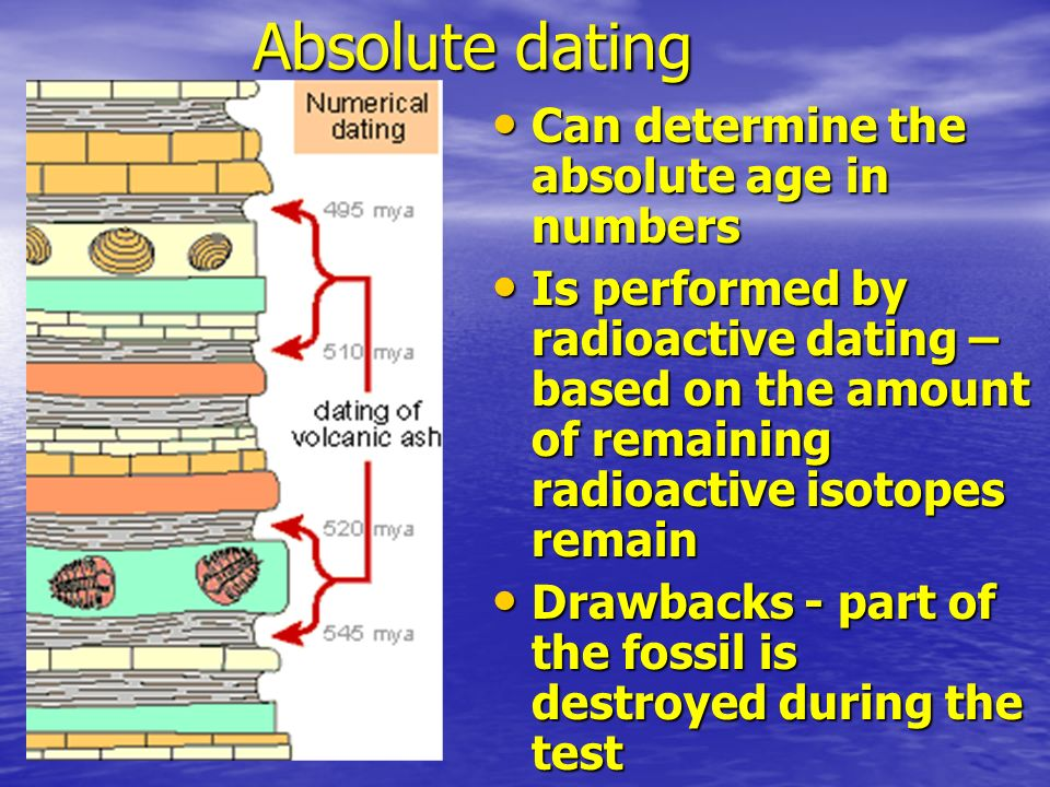 Absolute dating Can determine the absolute age in numbers