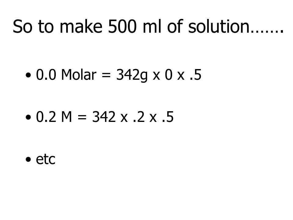So to make 500 ml of solution…….