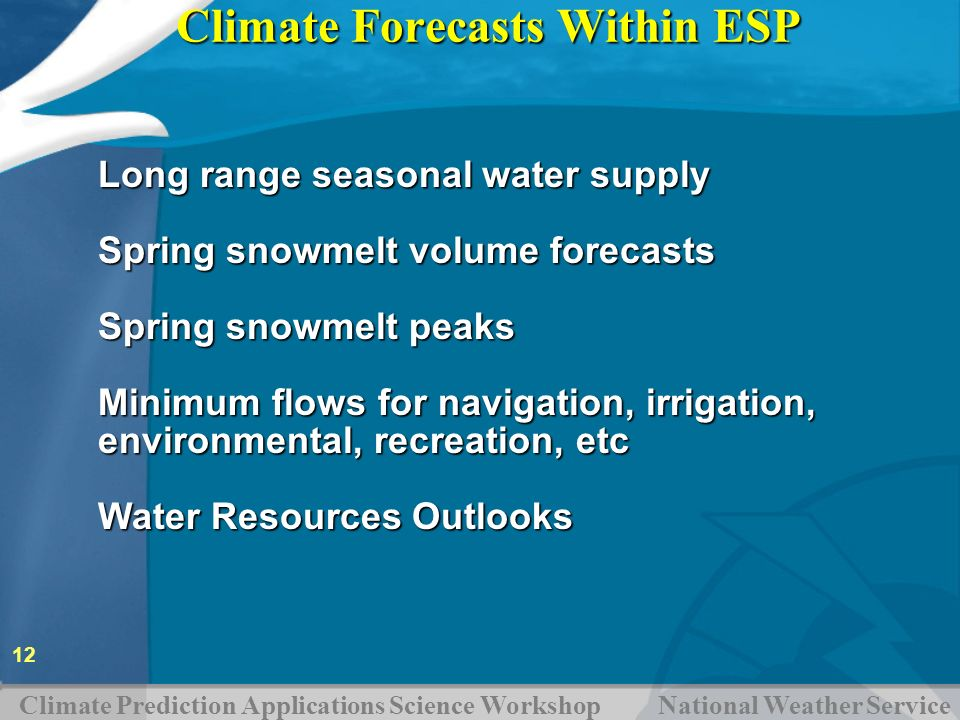 Climate Forecasts Within ESP