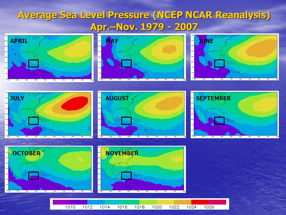Average Sea Level Pressure (NCEP NCAR Reanalysis)