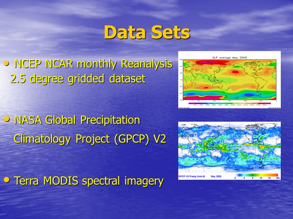 Data Sets NASA Global Precipitation Terra MODIS spectral imagery