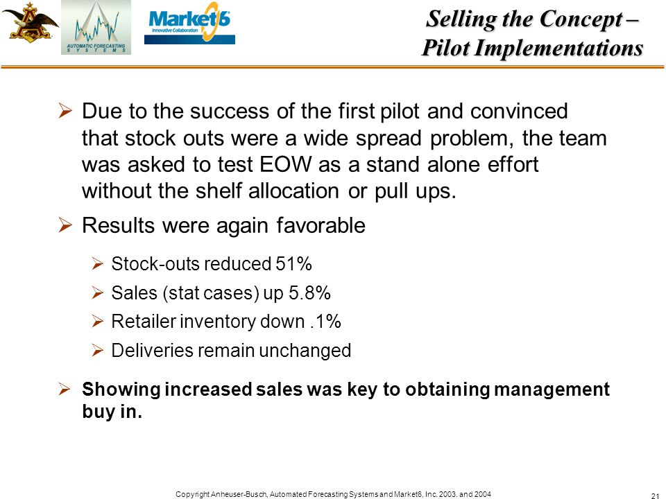 Selling the Concept – Pilot Implementations