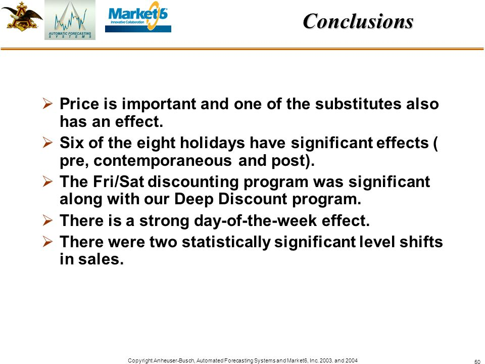 Conclusions Price is important and one of the substitutes also has an effect.