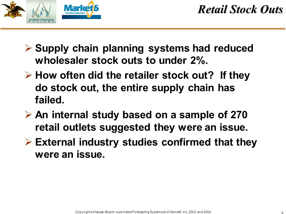 Retail Stock Outs Supply chain planning systems had reduced wholesaler stock outs to under 2%.