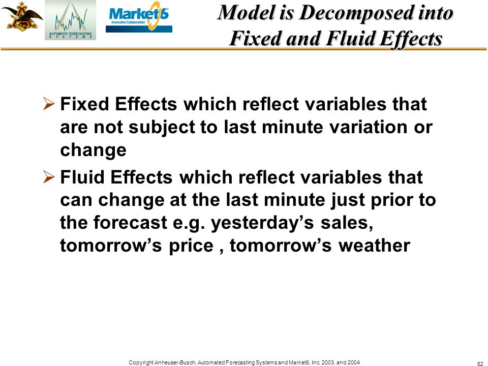 Model is Decomposed into Fixed and Fluid Effects
