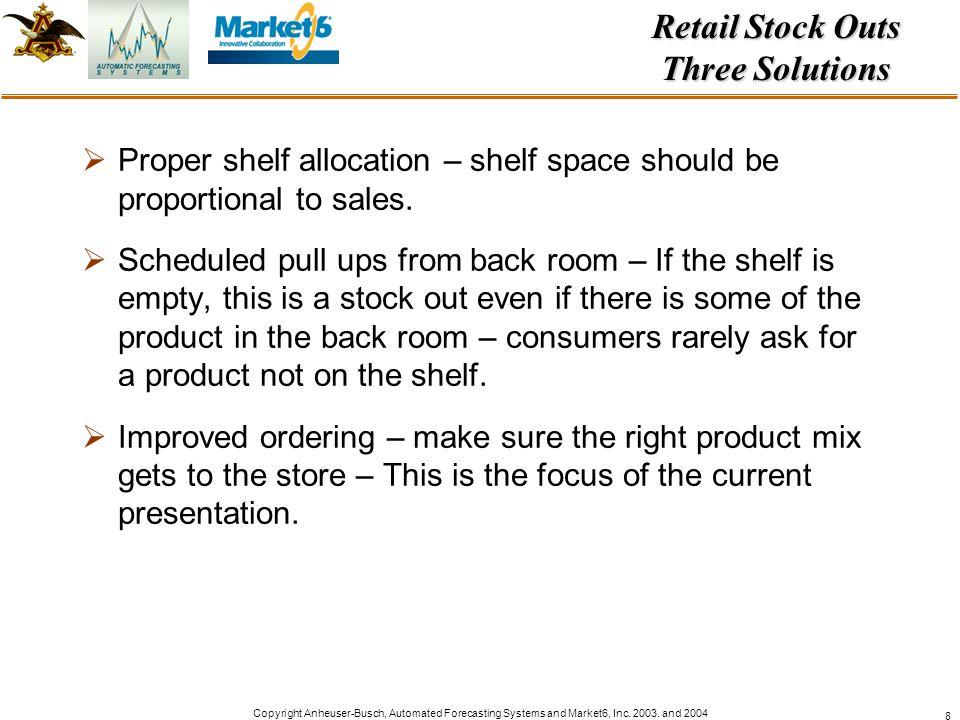 Retail Stock Outs Three Solutions