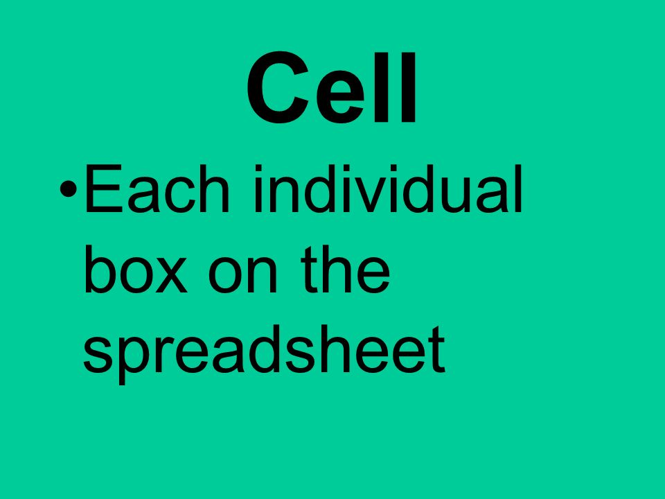 Cell Each individual box on the spreadsheet
