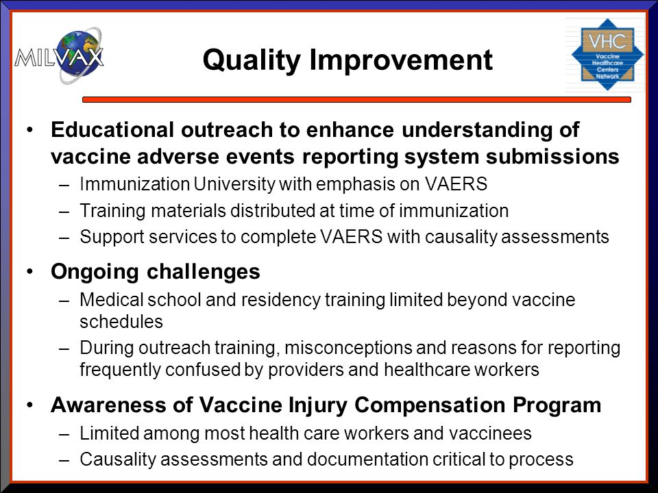 Quality Improvement Educational outreach to enhance understanding of vaccine adverse events reporting system submissions.
