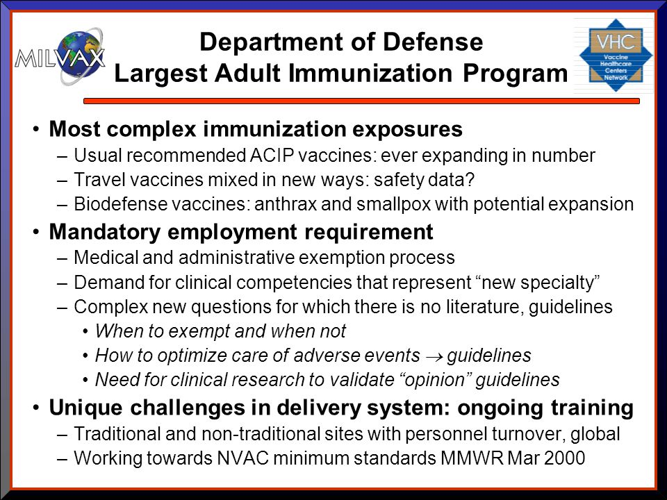 Department of Defense Largest Adult Immunization Program