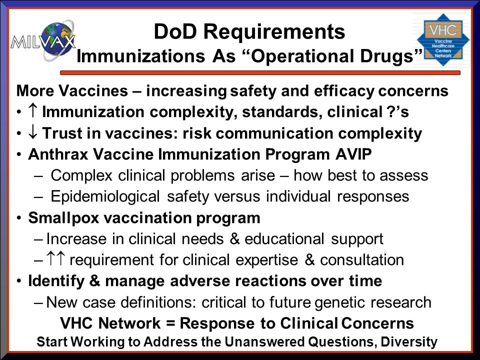 DoD Requirements Immunizations As Operational Drugs