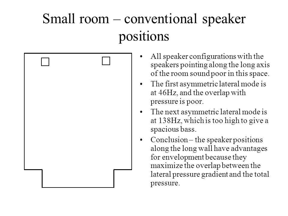 Small room – conventional speaker positions