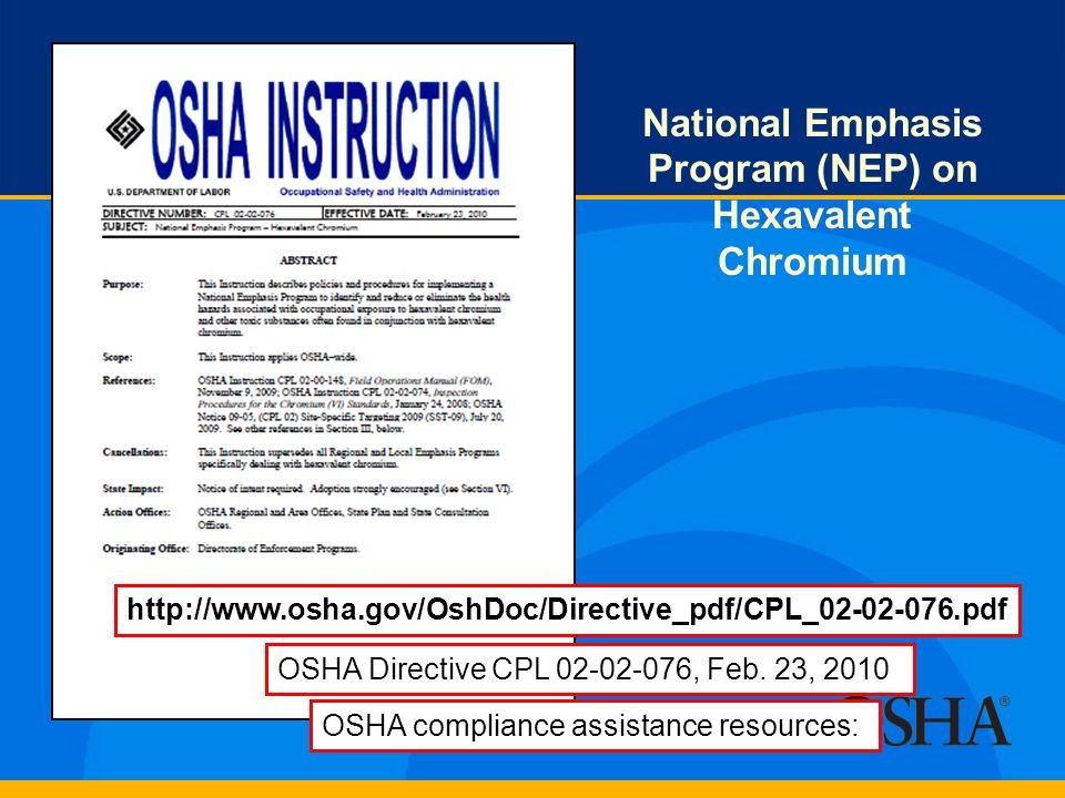 National Emphasis Program (NEP) on Hexavalent Chromium