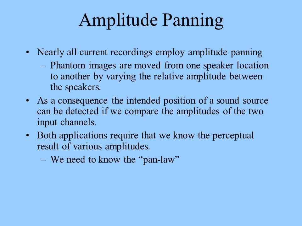Amplitude Panning Nearly all current recordings employ amplitude panning.