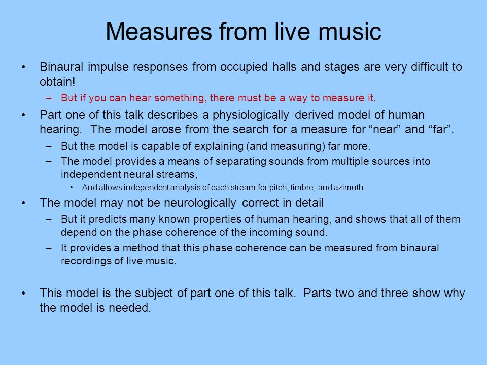 Measures from live music