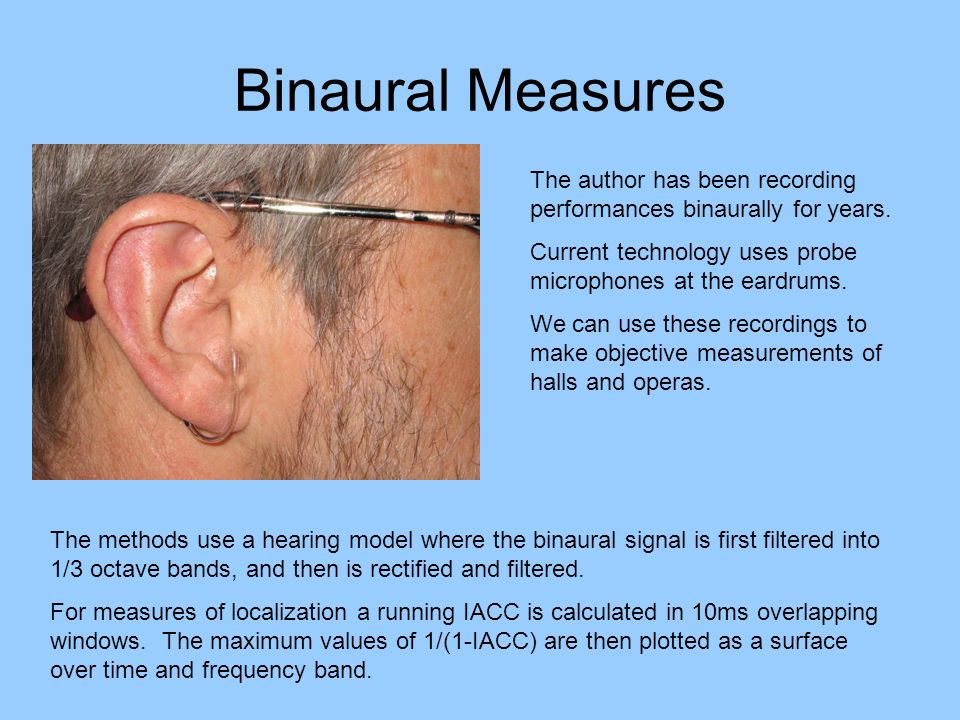 Binaural Measures The author has been recording performances binaurally for years. Current technology uses probe microphones at the eardrums.