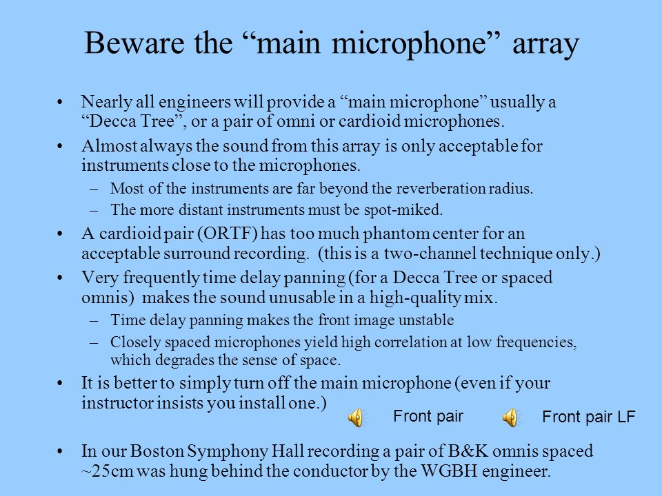 Beware the main microphone array