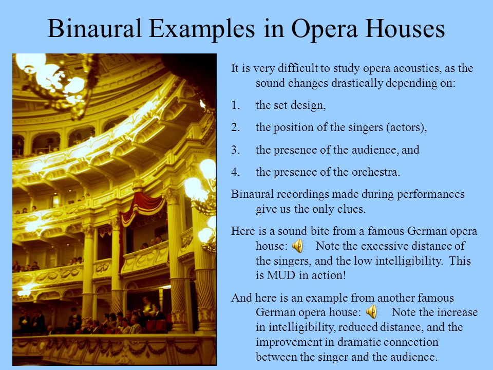 Binaural Examples in Opera Houses