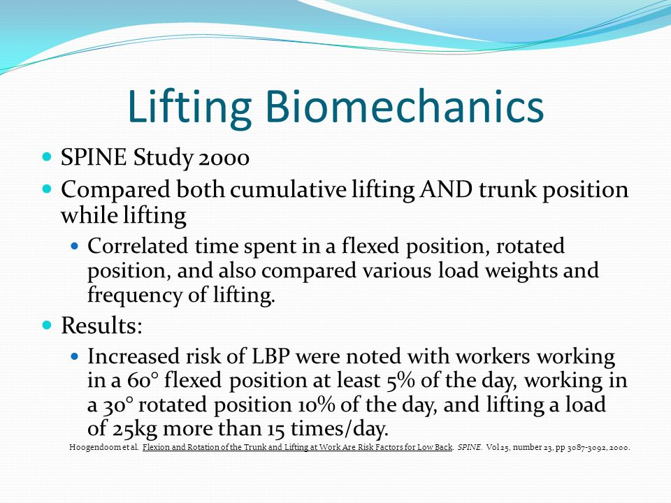 Lifting Biomechanics SPINE Study 2000