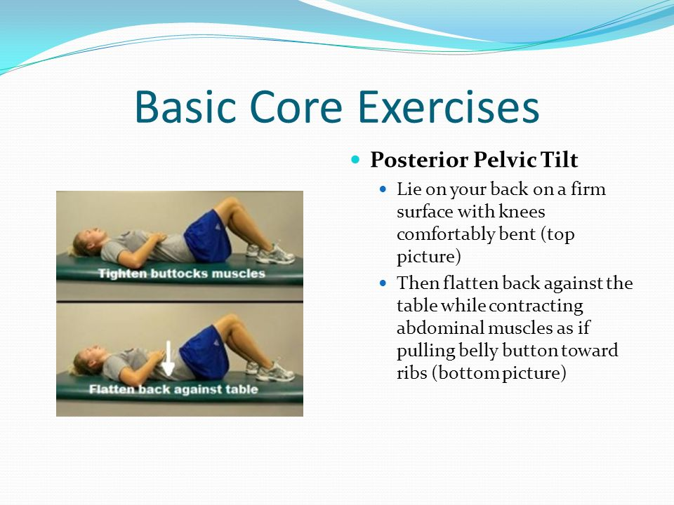 Basic Core Exercises Posterior Pelvic Tilt