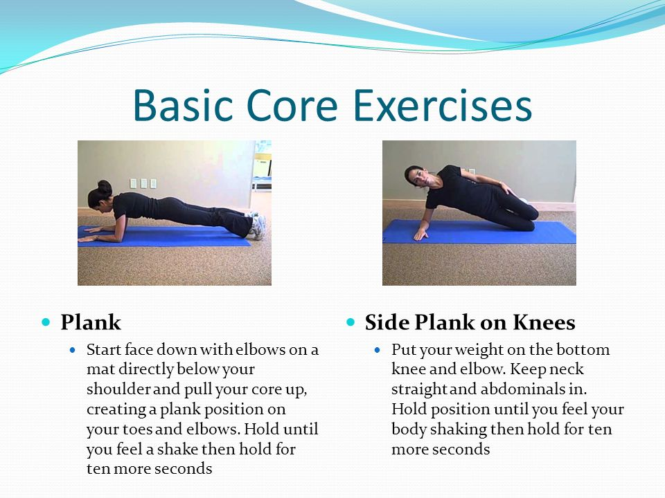 Basic Core Exercises Plank Side Plank on Knees